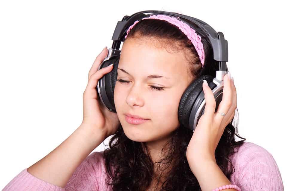 Girl wearing Open back Headphones