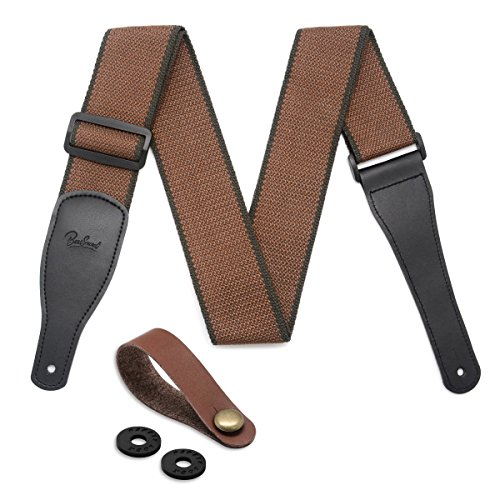 Cotton & Genuine Leather Ends Guitar Shoulder Strap