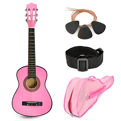 Pink Wood Guitar with Case and Accessories