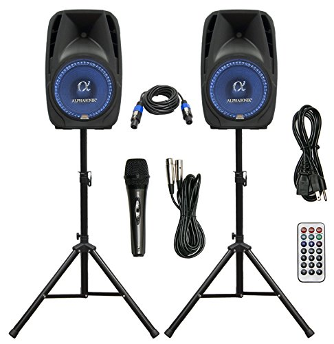 "Pair Alphasonik All-in-one 8"" Powered 800W PRO DJ"